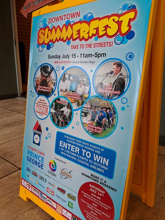 Large format printing in Prince George - The Summerfest 2018 Poster